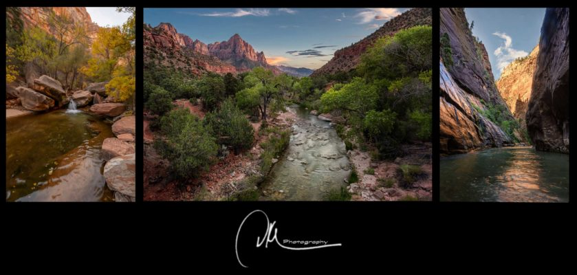 Zion Triptych- Rivers Run Through It